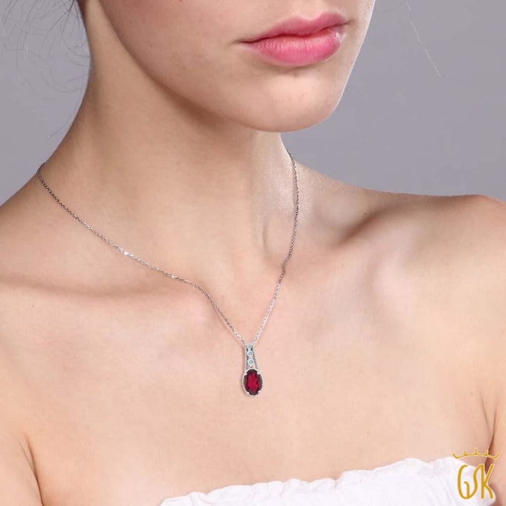 0.86 Ct Red 925 Sterling Silver Pendant Made With Swarovski Zirconia - Jewelry