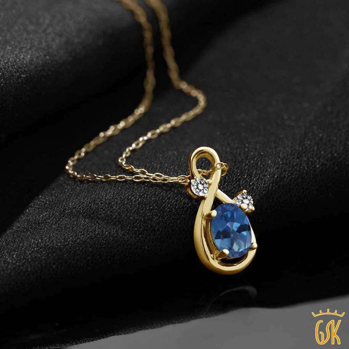 0.87 Ct Blue Mystic Topaz White Diamond 18K Yellow Gold Plated Silver Pendant - Jewelry