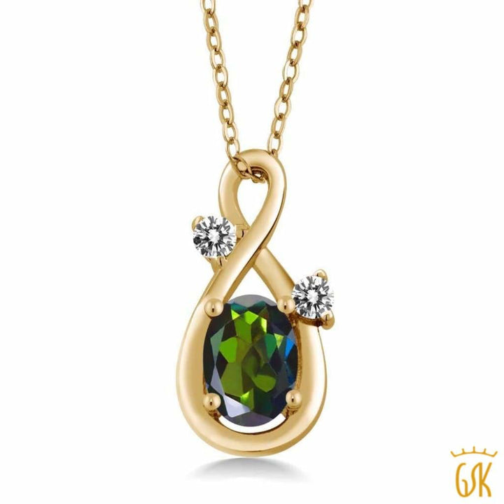 0.87 Ct Green Mystic Topaz White Diamond 18K Yellow Gold Plated Silver Pendant - Jewelry