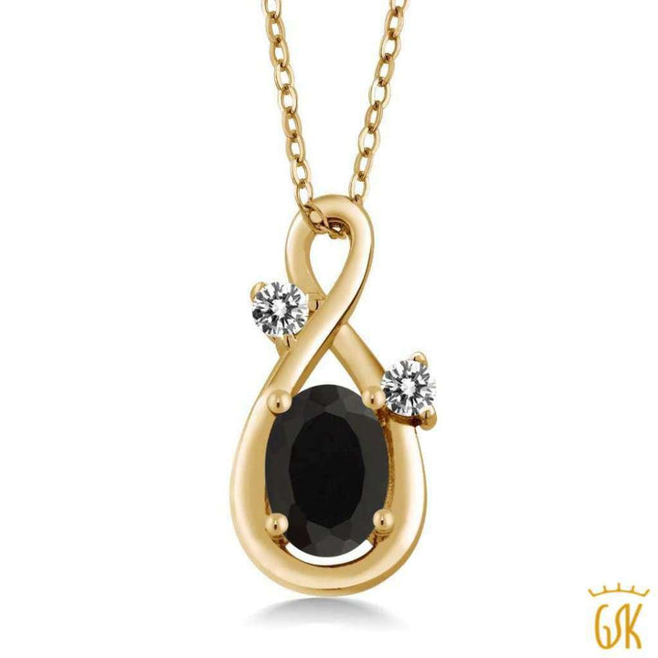 0.87 Ct Oval Black Onyx White Diamond 18K Yellow Gold Plated Silver Pendant - Jewelry