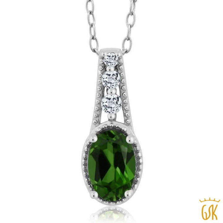 0.87 Ct Oval Green Chrome Diopside White Topaz 925 Sterling Silver Pendant - Jewelry