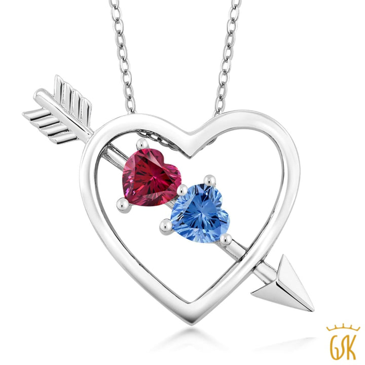 0.88 Ct 925 Silver Heart & Arrow Pendant Made With Red Swarovski Zirconia - Jewelry