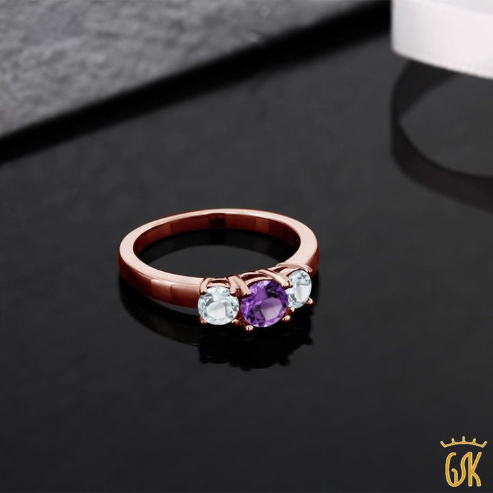0.89 Ct Purple Amethyst Sky Blue Aquamarine 925 Rose Gold Plated Silver Ring - Jewelry