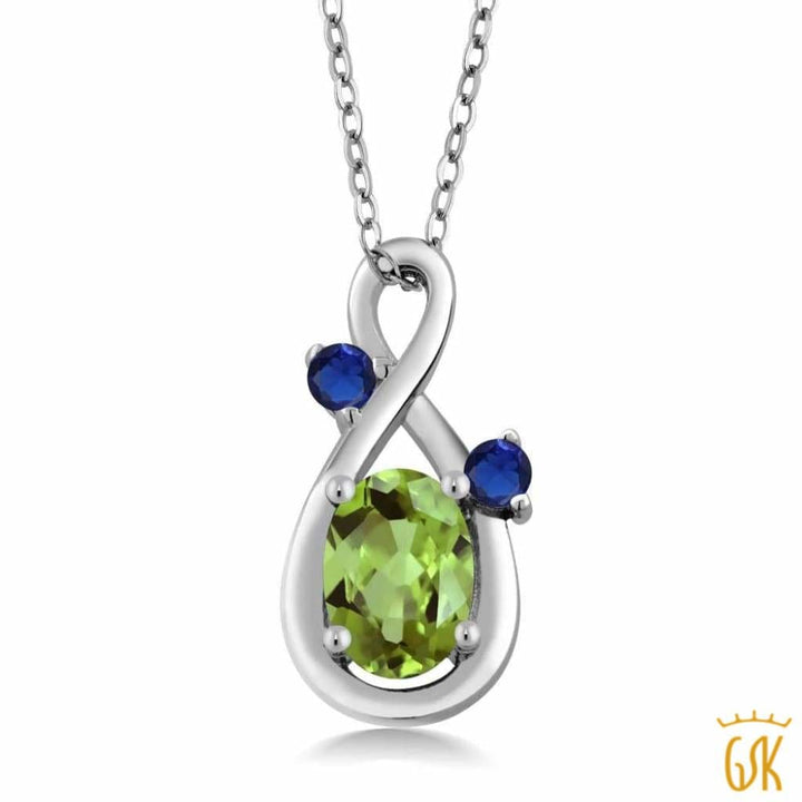 0.90 Ct Oval Green Peridot Blue Simulated Sapphire 925 Sterling Silver Pendant - Jewelry