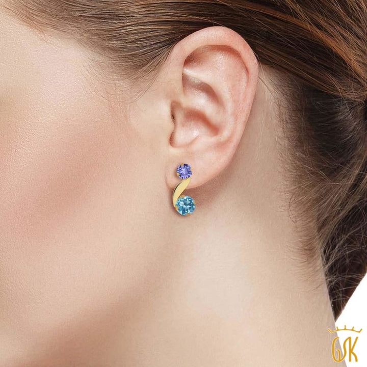 0.90 Ct Round Swiss Blue Topaz Blue Tanzanite 14K Yellow Gold Earrings - Jewelry