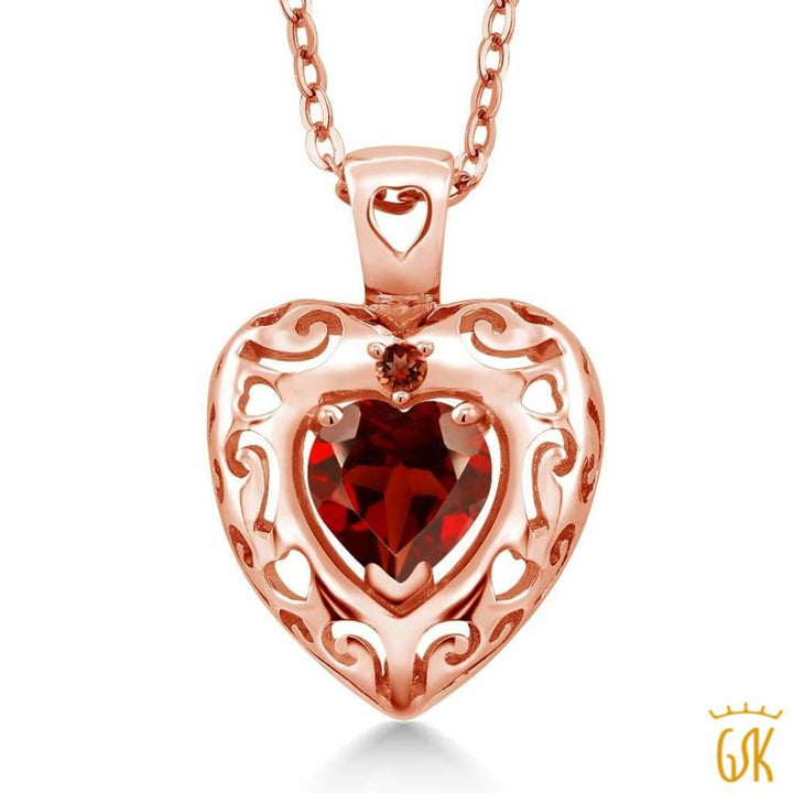 0.92 Ct Heart Shape Red Garnet 18K Rose Gold Plated Silver Pendant - Jewelry
