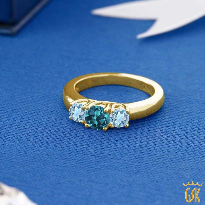 0.94 Ct London Blue Topaz Sky Blue Aquamarine 18K Yellow Gold Plated Silver Ring - Jewelry