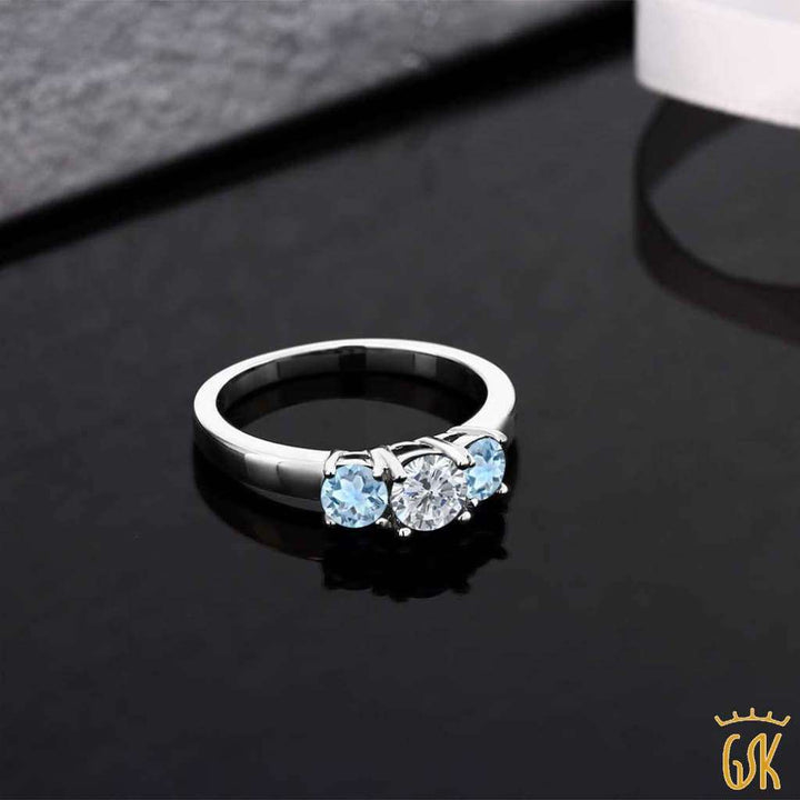 0.94 Ct Round G/h Diamond Sky Blue Aquamarine 925 Sterling Silver Ring - Jewelry