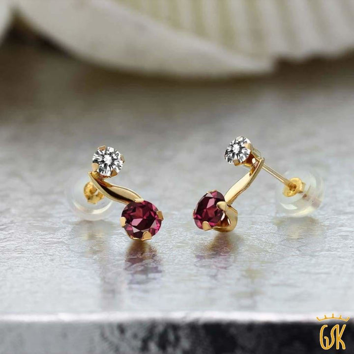0.94 Ct Round Red Rhodolite Garnet White Diamond 14K Yellow Gold Earrings - Jewelry