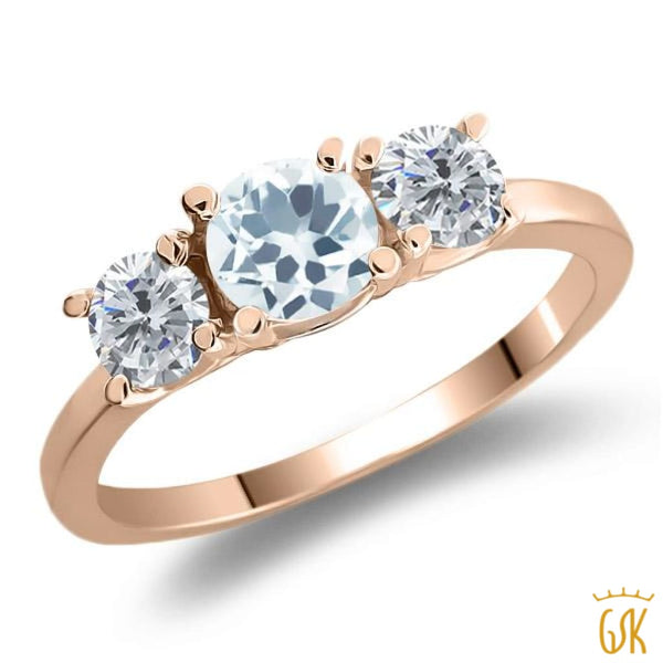 0.95 Ct Round Sky Blue Aquamarine G/h Diamond 925 Rose Gold Plated Silver Ring - Jewelry