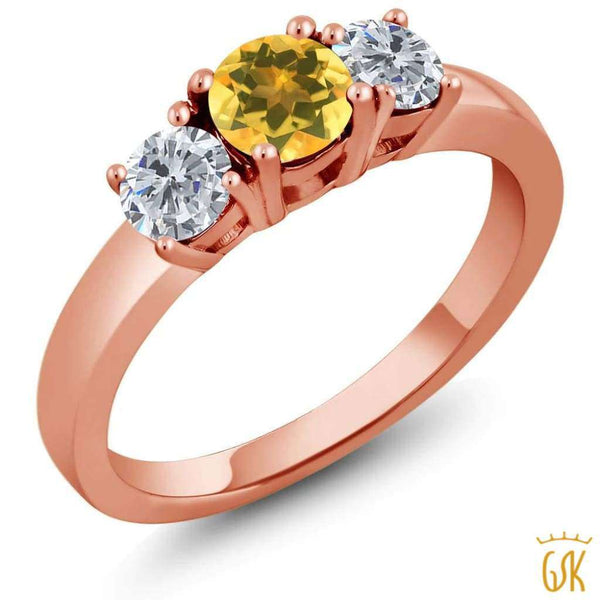 0.95 Ct Round Yellow Citrine G/h Diamond 925 Rose Gold Plated Silver Ring - Jewelry