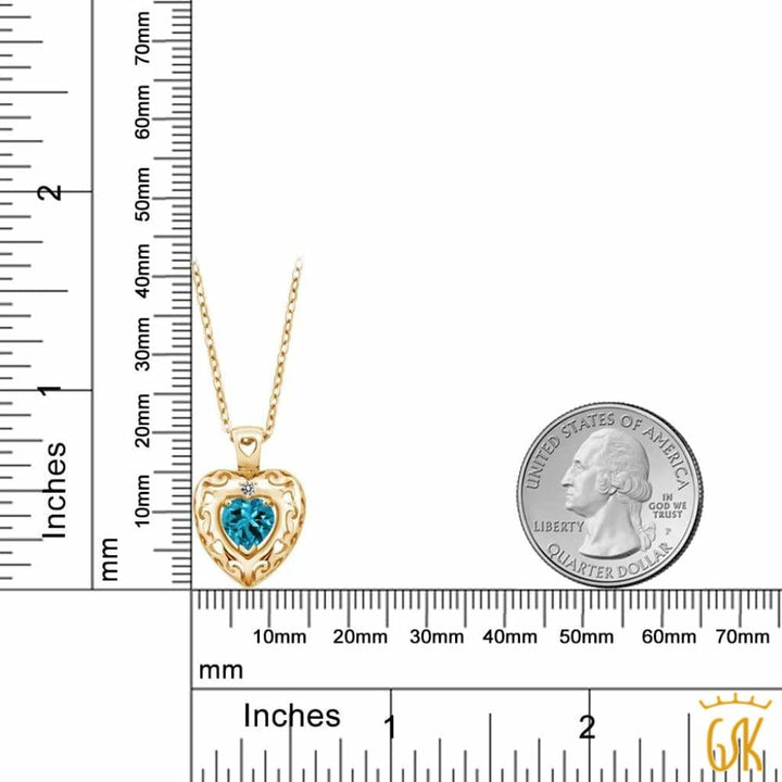 0.97 Ct London Blue Topaz White Diamond 18K Yellow Gold Plated Silver Pendant - Jewelry