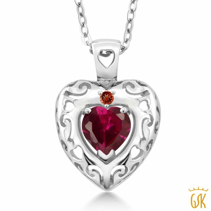 0.98 Ct Heart Shape Red Created Ruby Red Garnet 925 Sterling Silver Pendant - Jewelry