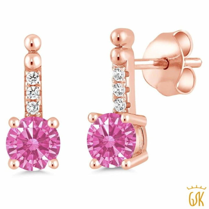 0.98 Ct Pink 925 Rose Gold Plated Silver Earrings Made With Swarovski Zirconia - Jewelry