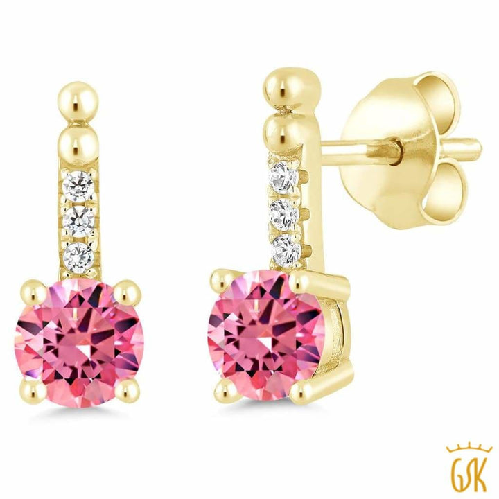 0.98 Ct Pink 925 Yellow Gold Plated Silver Earrings Made With Swarovski Zirconia - Jewelry