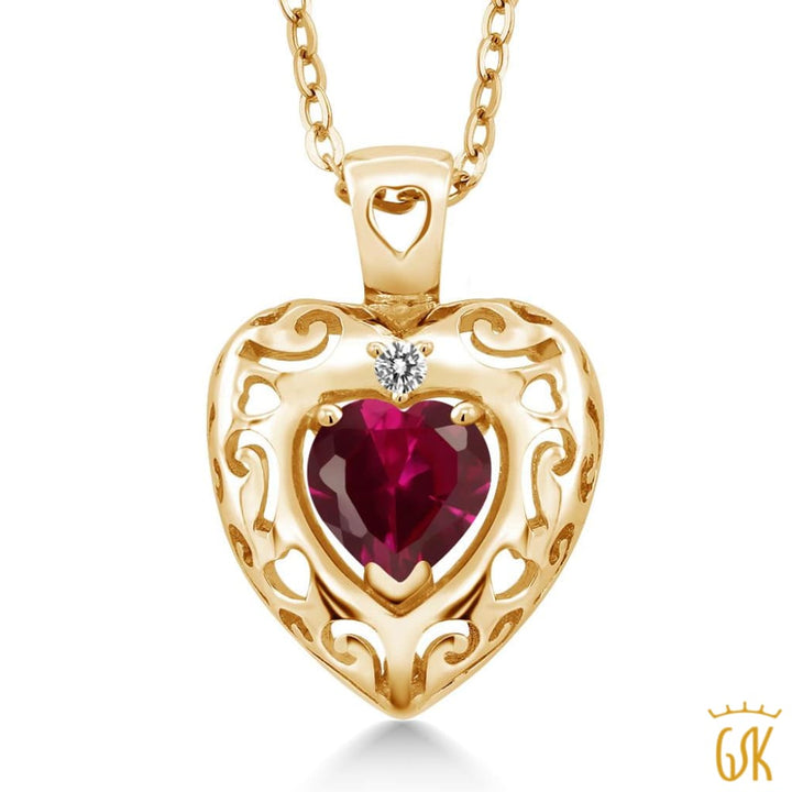 0.98 Ct Red Created Ruby White Diamond 18K Yellow Gold Plated Silver Pendant - Jewelry
