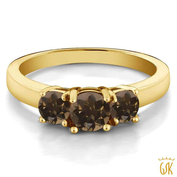 0.98 Ct Round Brown Smoky Quartz 925 Yellow Gold Plated Silver Ring - Jewelry