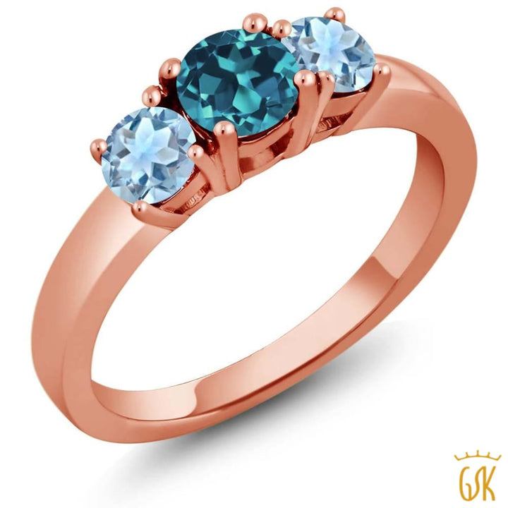 0.99 Ct London Blue Topaz Sky Blue Aquamarine 925 Rose Gold Plated Silver Ring - Jewelry
