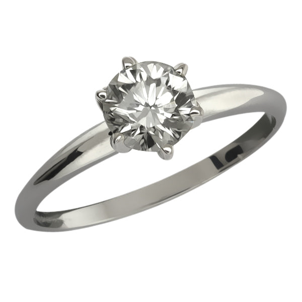 0.45 Ct Round Cut Solid 14K White Gold Diamond Solitaire Engagement Ring