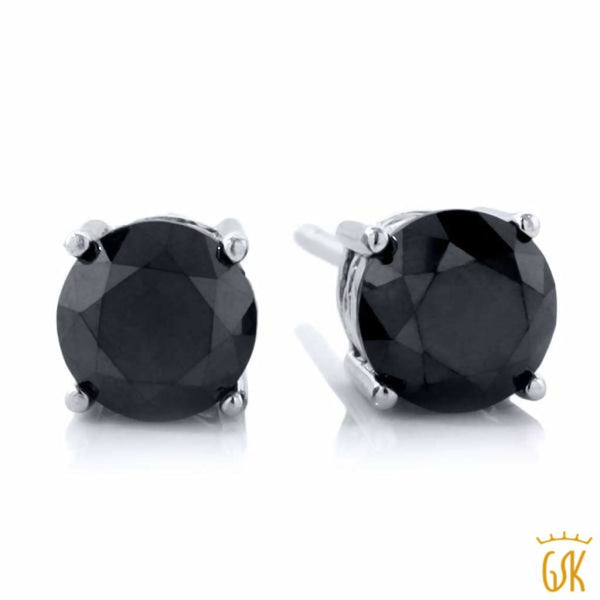 dc4b12bfc 1.00 Ct Round Black Diamond 925 Sterling Silver Stud Earrings