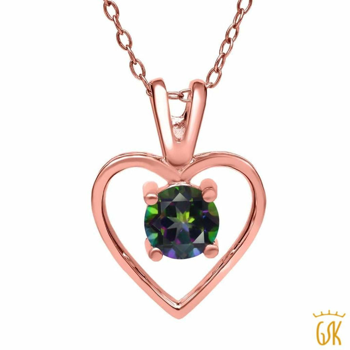 1.00 Ct Round Green Mystic Topaz 18K Rose Gold Plated Silver Pendant With Chain - Jewelry