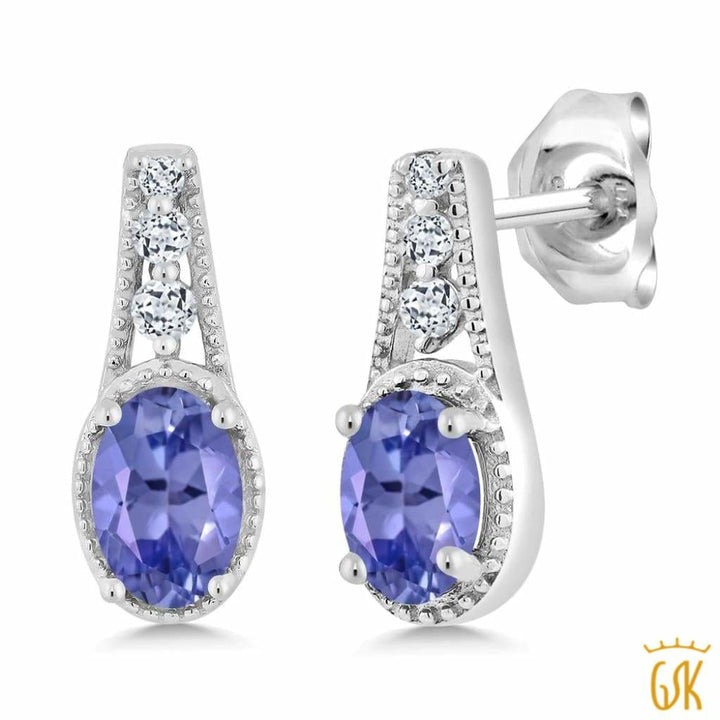 1.02 Ct Oval Blue Tanzanite White Created Sapphire 925 Sterling Silver Earrings - Jewelry