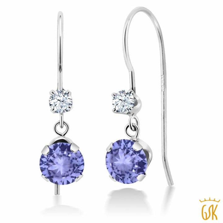 1.02 Ct Round Blue Tanzanite 14K White Gold Earrings - Jewelry