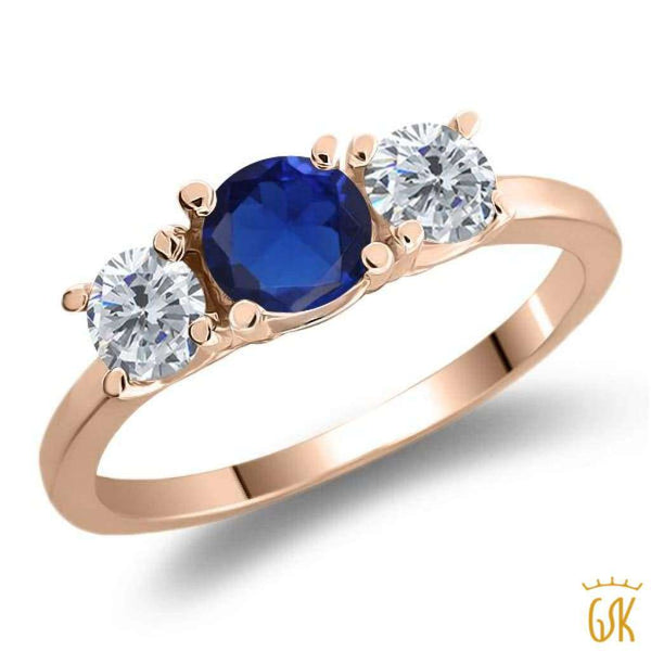 1.05 Ct Round Blue Simulated Sapphire G/h Diamond 925 Rose Gold Plated Silver Ring - Jewelry