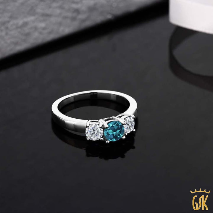 1.05 Ct Round London Blue Topaz G/h Diamond 925 Sterling Silver 3-Stone Ring - Jewelry