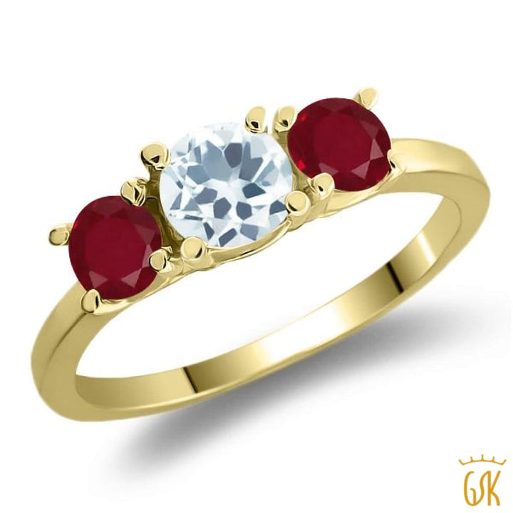 1.05 Ct Round Sky Blue Aquamarine Red Ruby 925 Yellow Gold Plated Silver Ring - Jewelry