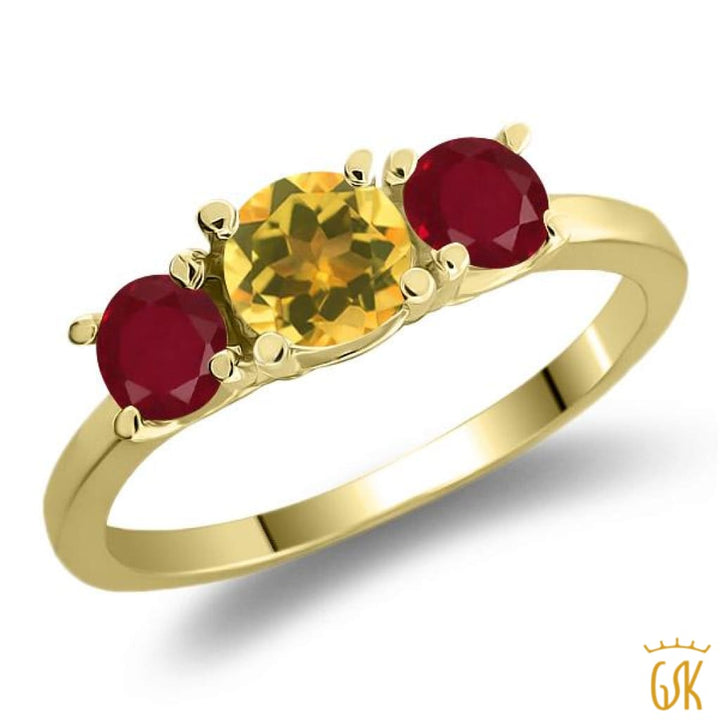 1.05 Ct Round Yellow Citrine Red Ruby 925 Yellow Gold Plated Silver 3-Stone Ring - Jewelry