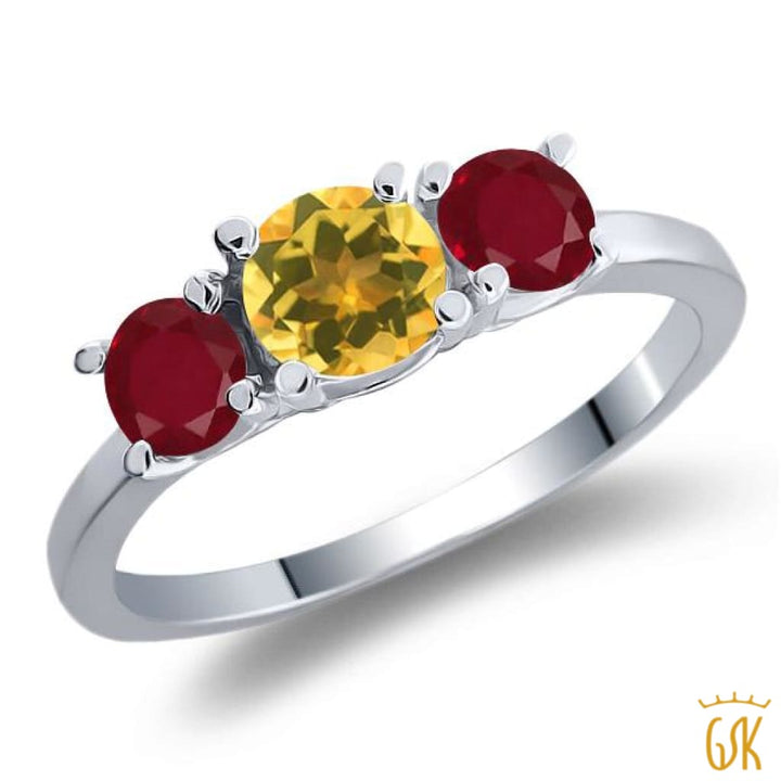 1.05 Ct Round Yellow Citrine Red Ruby 925 Sterling Silver 3-Stone Ring - Jewelry