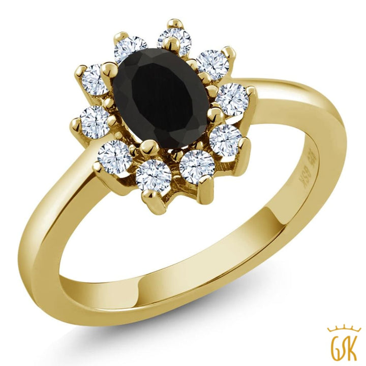 1.08 Ct Oval Black Onyx And White Topaz Gold Plated 925 Silver Ring - Jewelry