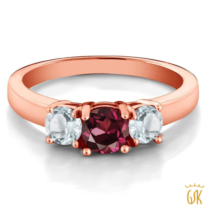 1.08 Ct Red Rhodolite Garnet And Aquamarine 925 Rose Gold Plated Silver Ring - Jewelry