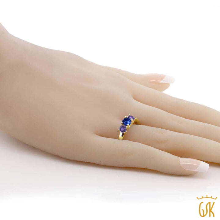 1.08 Ct Round Blue Sapphire Purple Amethyst 18K Yellow Gold Plated Silver Ring - Jewelry
