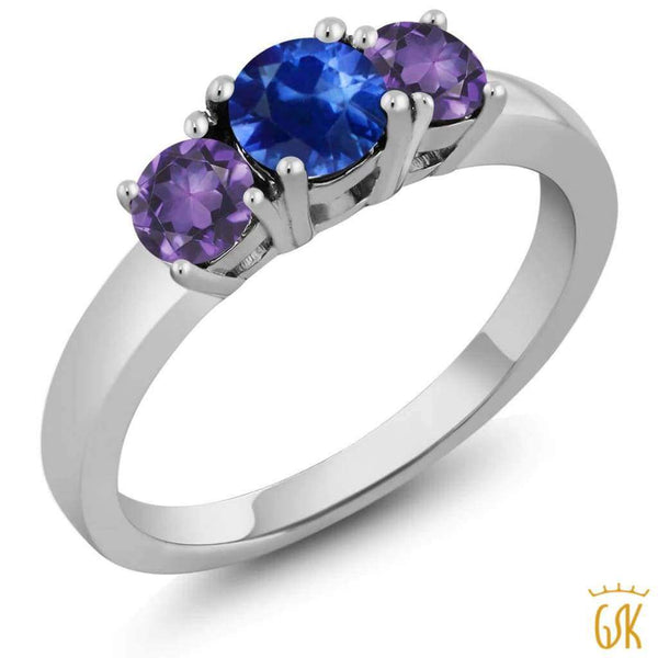 1.08 Ct Round Blue Sapphire Purple Amethyst 925 Sterling Silver Ring - Jewelry