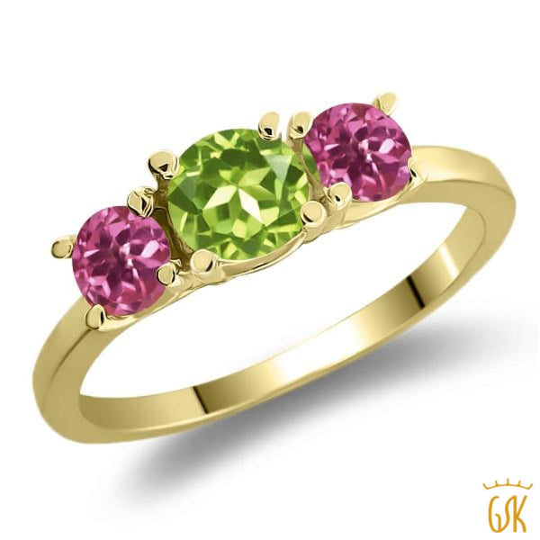 1.08 Ct Round Green Peridot Pink Tourmaline 925 Yellow Gold Plated Silver Ring - Jewelry