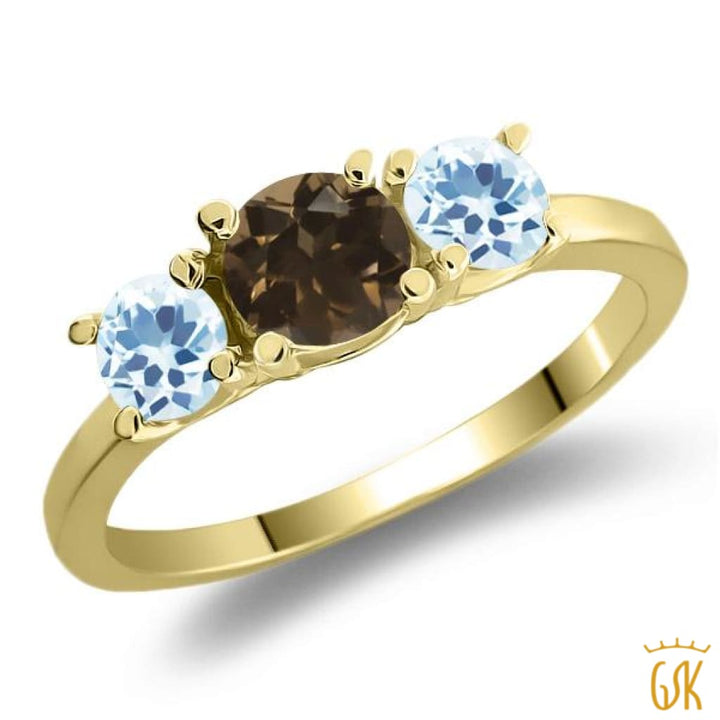 1.12 Ct Brown Smoky Quartz Sky Blue Topaz 925 Yellow Gold Plated Silver Ring - Jewelry