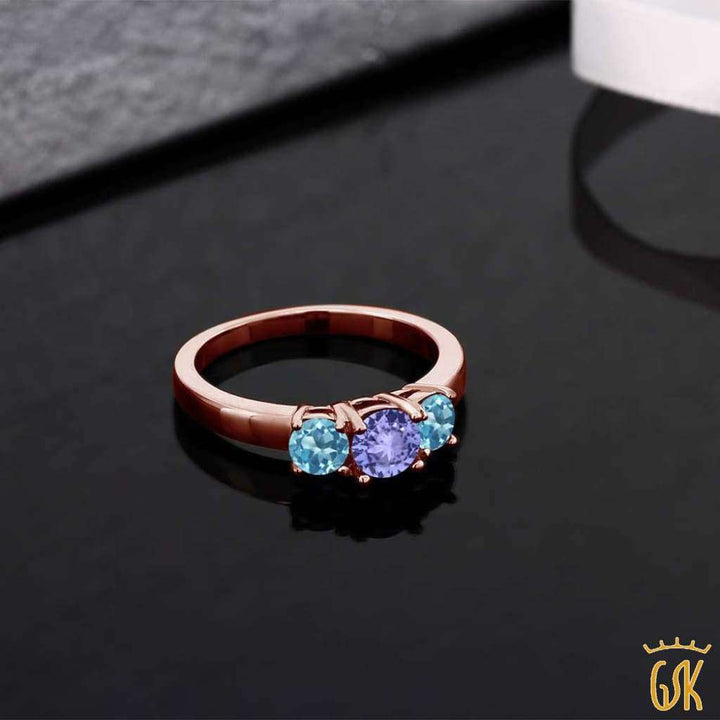 1.12 Ct Round Blue Tanzanite Swiss Blue Topaz 925 Rose Gold Plated Silver Ring - Jewelry