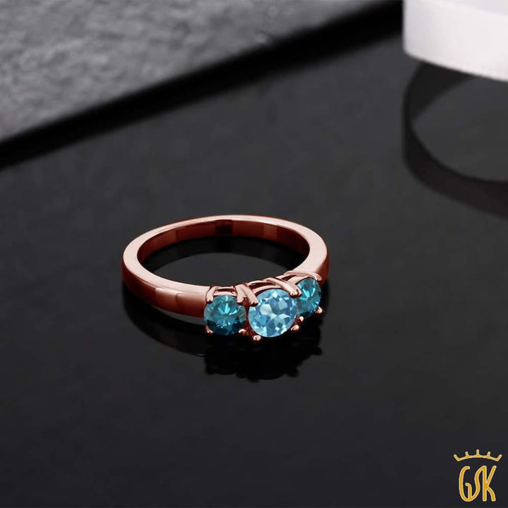1.14 Ct Round Swiss Blue Topaz Blue Diamond 925 Rose Gold Plated Silver Ring - Jewelry