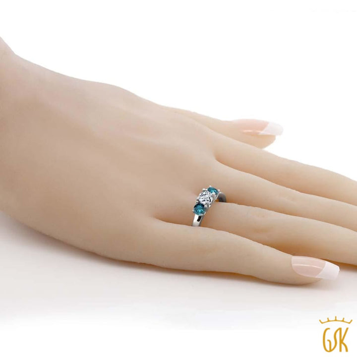 1.14 Ct Round White Topaz Blue Diamond 925 Sterling Silver 3-Stone Ring - Jewelry