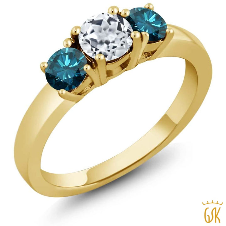 1.14 Ct Round White Topaz Blue Diamond 925 Yellow Gold Plated Silver Ring - Jewelry