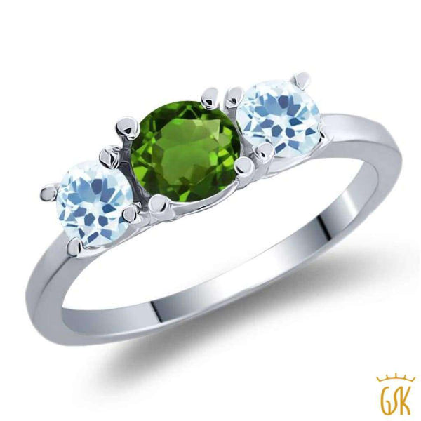 1.16 Ct Round Green Chrome Diopside Sky Blue Topaz 925 Sterling Silver Ring - Jewelry