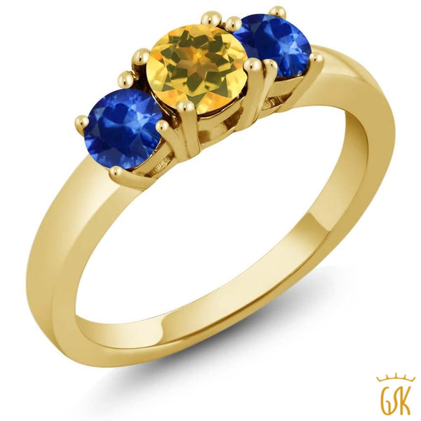 1.17 Ct Round Yellow Citrine Blue Sapphire 18K Yellow Gold Plated Silver Ring - Jewelry