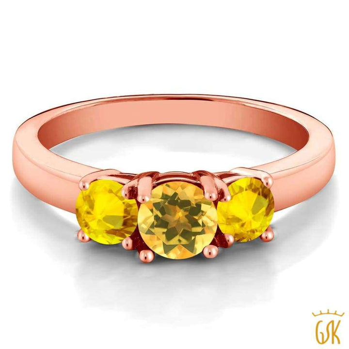 1.17 Ct Round Yellow Citrine Yellow Sapphire 925 Rose Gold Plated Silver Ring - Jewelry