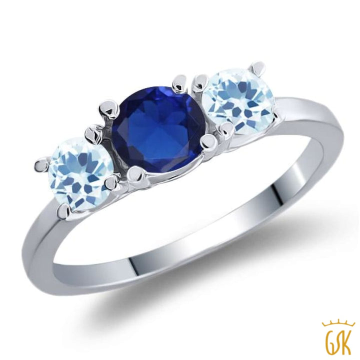 1.21 Ct Round Blue Simulated Sapphire Sky Blue Topaz 925 Sterling Silver Ring - Jewelry