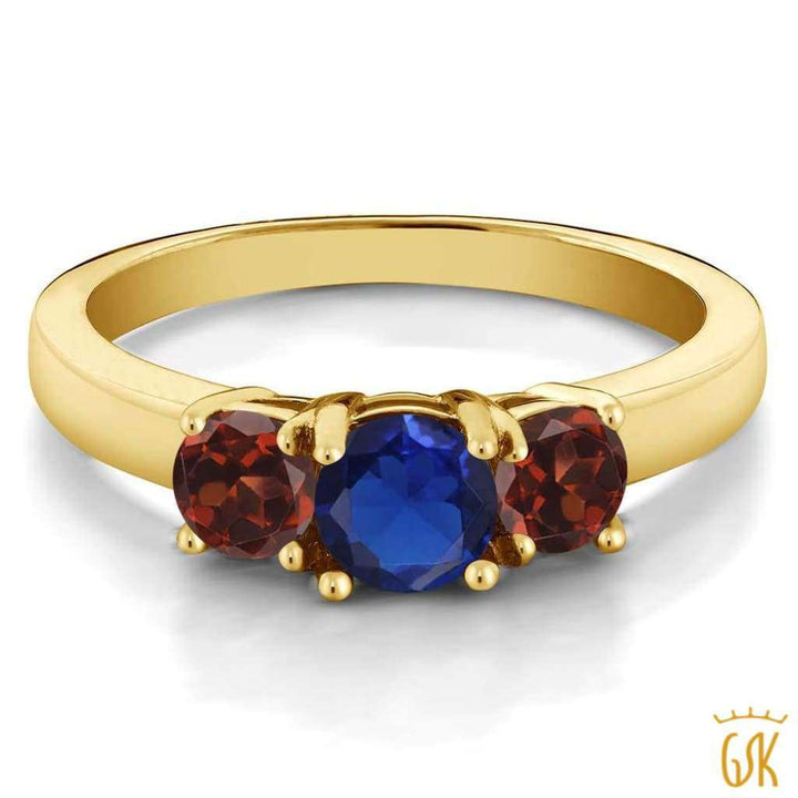 1.29 Ct Blue Simulated Sapphire Red Garnet 925 Yellow Gold Plated Silver Ring - Jewelry