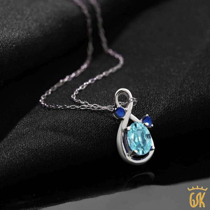 1.29 Ct Oval Blue Zircon Blue Simulated Sapphire 925 Sterling Silver Pendant - Jewelry