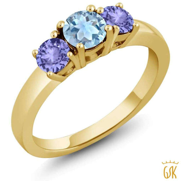 1.30 Ct Round Sky Blue Topaz Blue Tanzanite 925 Yellow Gold Plated Silver Ring - Jewelry