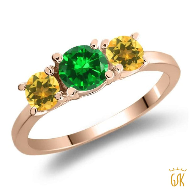 1.36 Ct Green Simulated Emerald Yellow Citrine 925 Rose Gold Plated Silver Ring - Jewelry